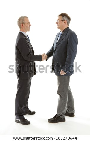 Business men shaking hands over white background