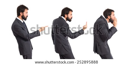 Business men shouting over isolated white background