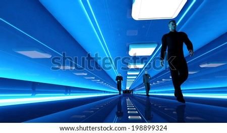 Business men walking down a airport corridor. 3D rendered Illustration. - stock photo