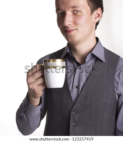 Business men with cup