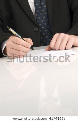 Business men writing a document - stock photo