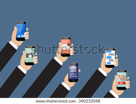 Business Mobile application concept. Hands holding phones with different application. illustration  Raster version.  - stock photo