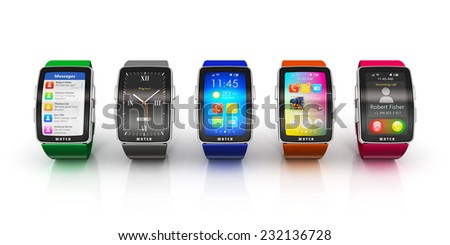 Business mobility and modern mobile wearable device technology concept: collection of color digital smart watches or clocks with colorful screen interface isolated on white background with reflection - stock photo