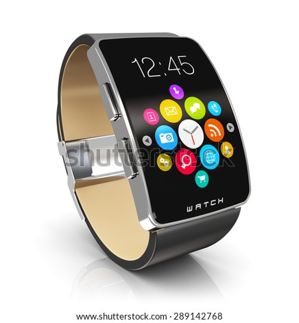Business mobility and modern mobile wearable device technology concept: digital smart watch or clock with color screen interface with colorful application icons and app buttons isolated on white - stock photo