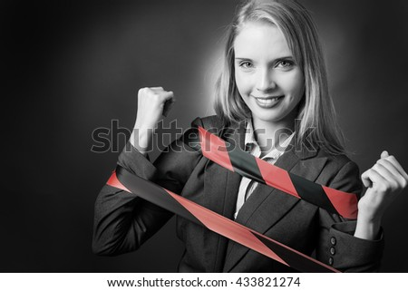 Business model is tied up with a black and red tape. - stock photo