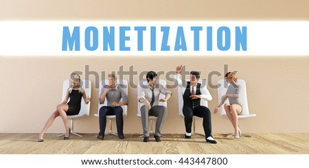 Business Monetization Being Discussed in a Group Meeting 3D Illustration Render - stock photo