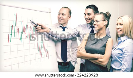 business, money and office concept - smiling business team with forex chart on flip board having discussion - stock photo