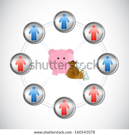 business money network illustration design over a white background - stock photo