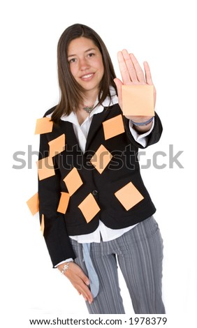 business multitasks - woman with post it notes over her body - stock photo