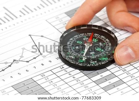Business Navigation Concept Compass Diagram Graph Stock Photo