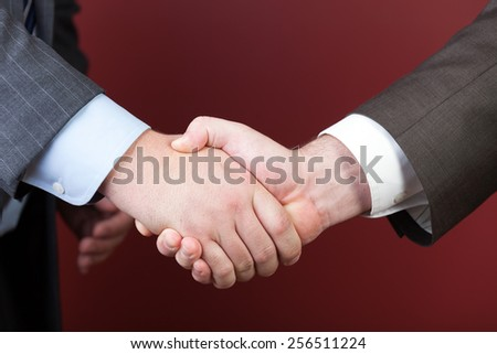 Business negotiations illustrated with a close up of a handshake between two men. - stock photo