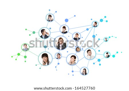 Business network, Asian business people use mobile phones to communicate to each other on white background.