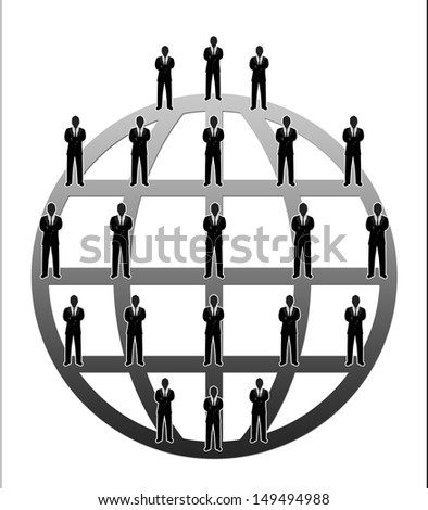 Business Network Concept Present By Multilevel Businessman Connection Around The Gray World Isolated on White Background  - stock photo