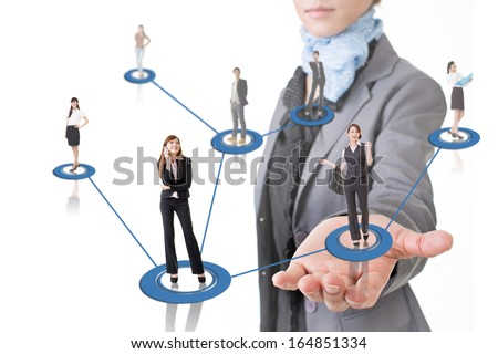Business network conception, Asian business people use mobile phone to communicate to each other at a woman's hand. - stock photo