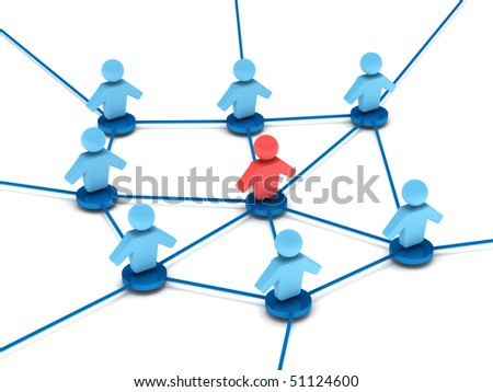 Business network. group of people with leader connected to each other. High quality 3d render. - stock photo