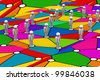 Business Network in colourful background - stock photo