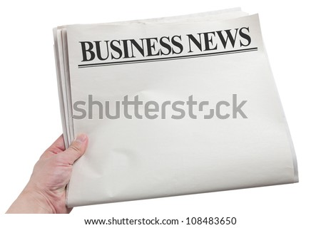 Business News, Blank Newspaper with white background - stock photo
