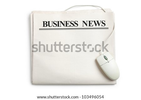 Business News, Computer mouse and Newspaper with white background
