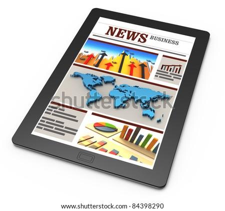 Business news. Corporate news. Latest news. Media news. Global news.  Economy news. Finance news. Banking news. Market news. Mobile media device news. Online news. Financial report news. - stock photo