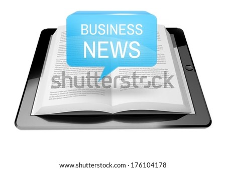 Business news icon button above ebook reader tablet with text