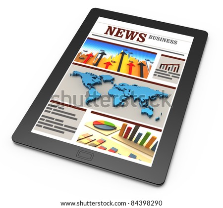 Business news on tablet pc - stock photo