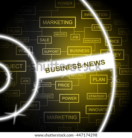 Business News Showing Social Media And Information - stock photo