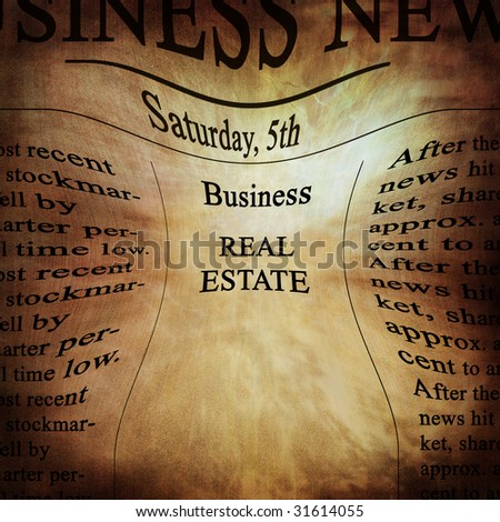 business news with real estate written on it