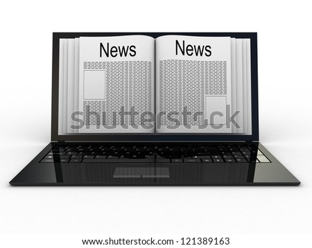 Business newspaper on laptop. Mobile device concepts 3D. isolated on white