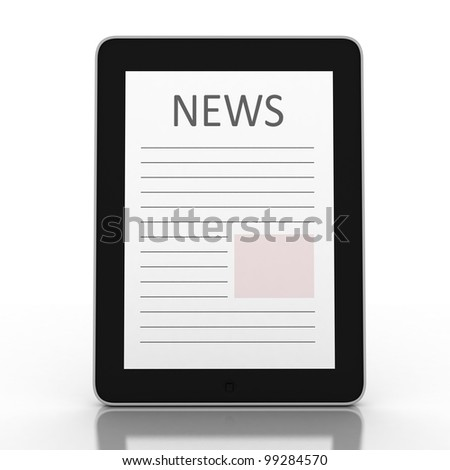 Business newspaper on tablet. Mobile device concepts 3D. isolated on white - stock photo