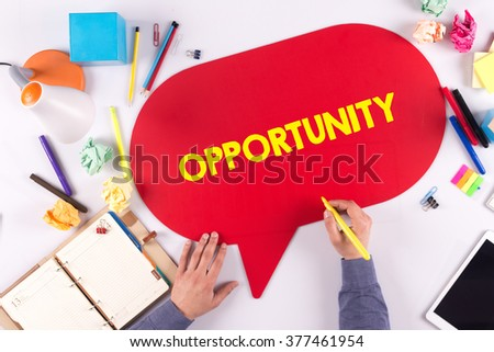 BUSINESS OFFICE ANNOUNCEMENT COMMUNICATION OPPORTUNITY CONCEPT - stock photo