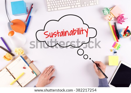 BUSINESS OFFICE ANNOUNCEMENT COMMUNICATION SUSTAINABILITY CONCEPT - stock photo