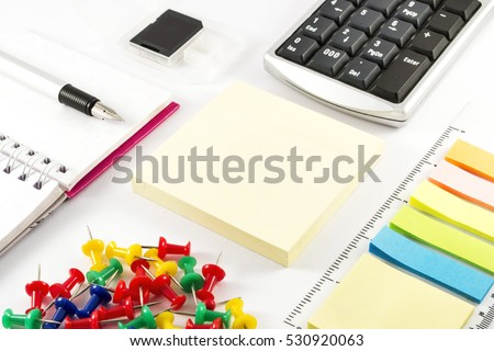 Business Office Supplies On White Background