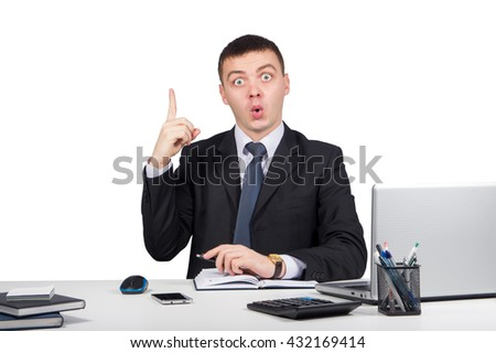 Business,office, technology, finances and internet concept - business man at office holding finger up: idea or warning  isolated on white background - stock photo
