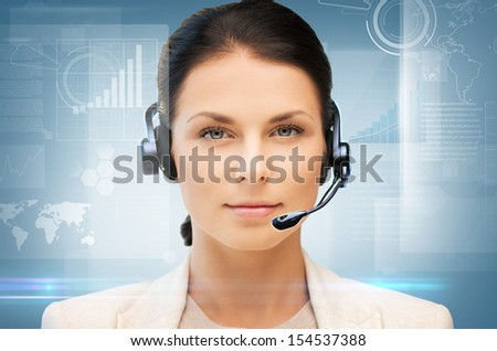 business, office, technology, future concept - friendly female helpline operator - stock photo