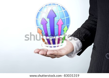 business on hand white background - stock photo