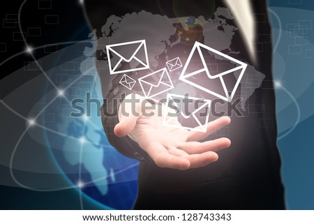 Business opening mail in a futuristic touchscreen interface