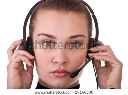 Business operator woman support customer. Isolated.