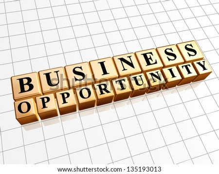 business opportunity - text in 3d golden cubes with black letters, business develop concept