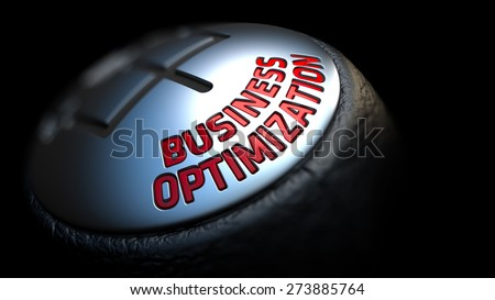 Business Optimization. Control Concept. Gear Lever on Black Background. Close Up View. Selective Focus. 3D Render. - stock photo
