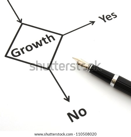 business or finance concept with word growth in flow chart - stock photo