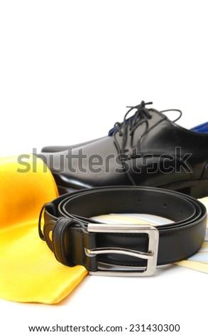 Business or Male accessories - belt, shoes, shirt and Tie isolated on white