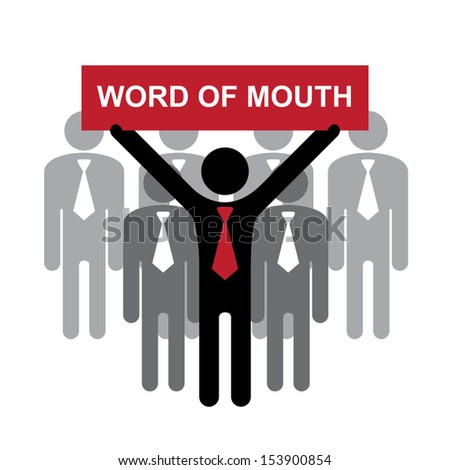 Business or Marketing Concept Present By Group of Businessman With Red Word of Mouth Sign on Hand Isolated on White Background  - stock photo