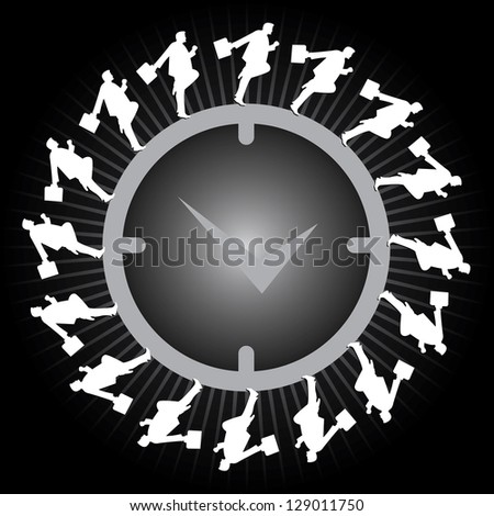 Business Or Time Management Concept Present By The Businessman Running Around The Clock in Black Glossy Style Background - stock photo
