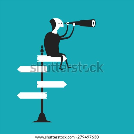 Business outlook bitmap concept in flat cartoon style - stock photo
