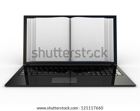 Business paper on laptop. Mobile device concepts 3D. isolated on white - stock photo