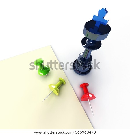 Business paper planning with blue chess and pins.  - stock photo
