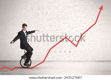 Business parson riding unicycle on an uprising red arrow concept