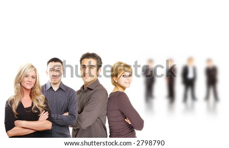 business partners are posing against white background - stock photo