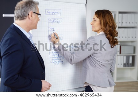 Business partners discussing a project with a middle-aged man and woman standing at a flip chart in the office writing notes - stock photo