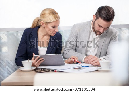 business partners discussing new projects - stock photo
